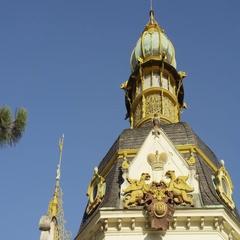 Ornate Building Letna Prague - 4k - Slow motion Stock Footage