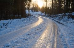 Slippery winter road Stock Photos