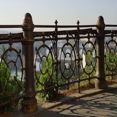 Prague Bridges View Rusty Railings Two Posts- 4k - Slow Motion Stock Footage