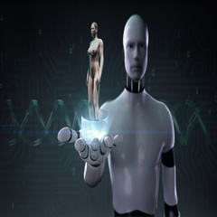 Robot open palm, Human scanning cardiovascular system, skeletal, bone system Stock Footage