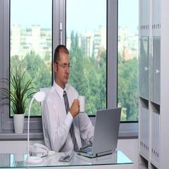 Confident Businessman Job Using Computer Device Introducing Finances Data Office Stock Footage