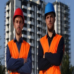 Daily Inspection Engineers Men Examining Walking Unfinished Apartments Building Stock Footage