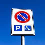 Noparking-invalid-roadsign-box Stock Photos