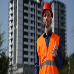 Serious Engineer Man Look Camera Show Ok Sign Hand Gestures Unfinished Project Stock Footage