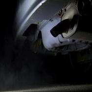 4k car exhaust vehicle bottom of car 2 Stock Footage