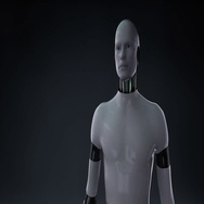 Robot open palm, front Female body and scanning skeletal structure, bone system. Stock Footage