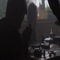 Silhouette of man and girl in specialized shop of electronic cigarettes. Vapers Stock Footage