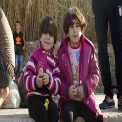 LESVOS, GREECE - NOV 5, 2015: Portrait of Syrian refugee children Stock Footage