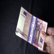 Euro cash in slow motion moving in hand Stock Footage
