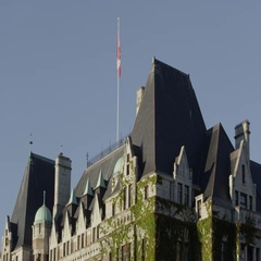 Downward pan of The Empress Hotel Stock Footage