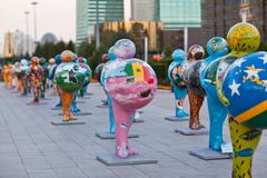 Art - installation, symbolizing countries of the world. Astana. Kazakhstan Stock Photos