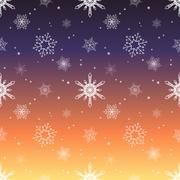 Snowflake pattern tint layer sunset sky color background Stock Illustration