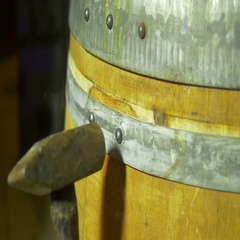 Hammering barrel barel building build Stock Footage