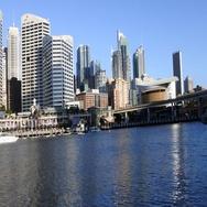 105 Darling Harbour at sunset Sydney Australia Stock Footage
