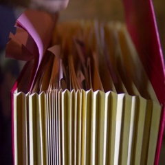 Looking through documents records record Stock Footage