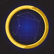 Libra star horoscope zodiac in fish eye telescope with cosmos background Stock Illustration