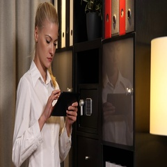 Busy Ceo Businesswoman Using a Digital Tablet Searching Database Office Interior Stock Footage