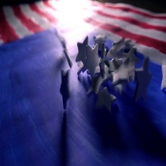 White stars falling on painted American flag, the symbol of the USA. Super slow Stock Footage