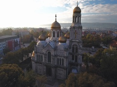 Varna Bulgaria, The Cathedral of the Assumption Aerial view Stock Footage
