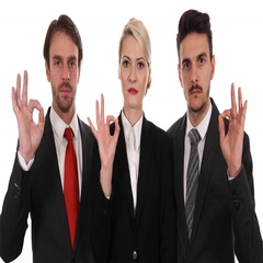 Banker Business People Looking Camera Positive Job Ok Sign Interior Office Room Arkistovideo