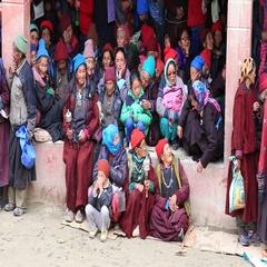 Buddhist old people during Tsam mystery dance in Lamayuru , Ladakh, North India Stock Footage