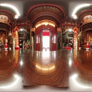 360VR video of interior at Dazhongye Temple in Tamsui Stock Footage