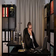 Real Estate Manager Man Sleeping on Office Interior Desk Not Work Exhausted Day Stock Footage