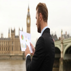 Business Man Look Pie Chart Examine Brexit Profit Statistics Central London City Stock Footage