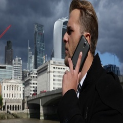 Businessman Manager Talk Mobile Phone Brexit Crisis Negotiation London Skyline Stock Footage