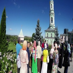 Tourists visiting Church in honour of the Transfiguration in Optina Monastery Stock Footage