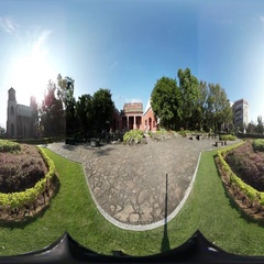 360VR video of Oxford College garden in Tamsui Stock Footage