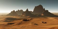 Martian landscape. Sunset on Mars Stock Illustration