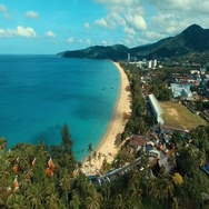 Aerial: Beautiful beach with a height. Stock Footage