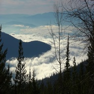 Looking down on on spooky cloud filled valley from mountainside, late autumn Stock Footage