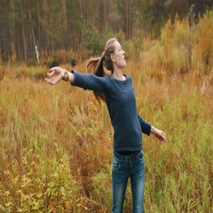 Beautiful girl dancing in the autumn forest. Girl have fun and smiling Stock Footage