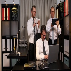 Manager Team Men Working Laptop and Digital Tablet Look Camera Ok Sign Office Stock Footage