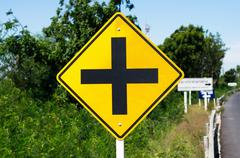 Traffic routing and alert on the road to the vehicle. Stock Photos