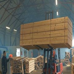 Trucks Transporting Blocks of Wood. Indoor. Stock Footage