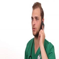 Probationer Medical Doctor Conversation Talk Mobile Phone Report Hospital Room Stock Footage