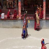 Tibetan men in mystical mask dancing mystery dance in Lamayuru, Ladakh, India Stock Footage