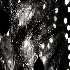 Christmas Ornament With Light Black And White Theme Stock Footage