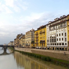 Ponte Vecchio and the Arno river in Florence, Tuscany, Italy Stock Footage