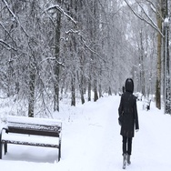 People walk in the park in winter Stock Footage