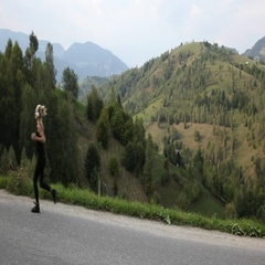 Runner Woman Running Athlete Training Outdoors Exercising Mountain Road Nature Stock Footage