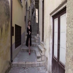 Nude girl walking of Modica, Sicily. View of Italian antique town. Stock Footage