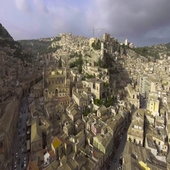 Aerial shots of Modica, Sicily. Top view of Italian antique town. Stock Footage