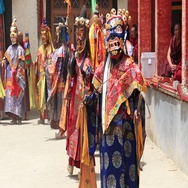 Tibetan men in mystical mask dancing mystery dance in Lamayuru, Ladakh, India Stock Footage