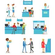 Bank Service Professionals And Clients Different Financial Affairs Consultancy Stock Illustration