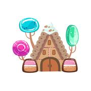 Fairy Tale House With Candy Trees Fantasy  Land Sweet Landscape Element Piirros