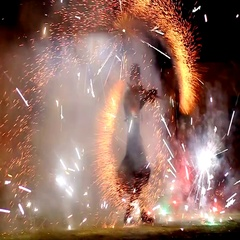 Lord of fire. pyrotechnic show Stock Footage